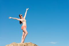 Beautiful woman spread her arms Royalty Free Stock Photography