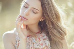 Beautiful woman in spring stock photos