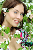 Beautiful woman in spring blossom Royalty Free Stock Image