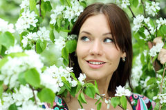 Beautiful woman in spring blossom Royalty Free Stock Photography