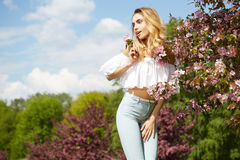 Beautiful woman in spring blossom trees. Stock Image