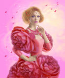 Beautiful woman spring in  dress roses. Dress flower illustration. Royalty Free Stock Images