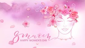 Beautiful woman. Watercolor pink background. Beautiful woman with spring flowers, cherry blossom, roses. Watercolor pink background. Mother s day, 8 march Royalty Free Stock Image