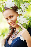 Beautiful woman in a spring garden Royalty Free Stock Images