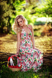 Beautiful woman in spring garden Royalty Free Stock Photography