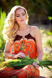 Beautiful woman in spring garden Royalty Free Stock Image