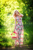 Beautiful woman in spring garden Royalty Free Stock Images