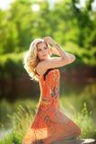 Beautiful woman in spring garden Royalty Free Stock Photos
