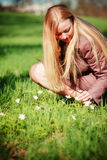 Beautiful Woman on Spring Meadow Royalty Free Stock Images