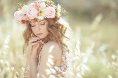 Beautiful woman in spring stock image