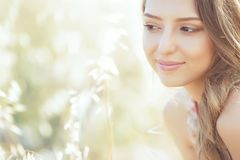 Beautiful woman in spring stock photo