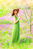 Beautiful woman in spring park Royalty Free Stock Photos
