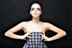 Beautiful woman with stage make up. Royalty Free Stock Image