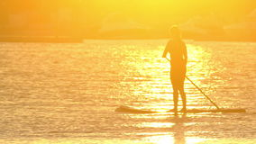 Beautiful woman on Stand Up Paddle Board. SUP. stock video