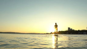 Beautiful woman on Stand Up Paddle Board. SUP. stock footage