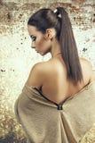 Beautiful woman standing back Stock Photo