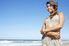 Beautiful Woman Standing On Beach Royalty Free Stock Photography