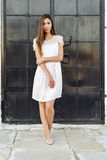 Beautiful woman standing at the black door of the castle, Gothic church . girl in a pink dress, posing close up, resting Stock Images
