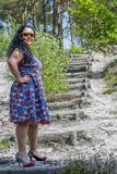 Beautiful woman standing in front of a wooden ladder in the middle of an arid terrain. With a long black hair in a blue dress with flowers and sunglasses in stock photography