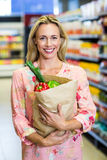 Beautiful woman standing with grocery bag Stock Images