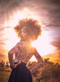 Beautiful woman standing proudly in wild desert location. Beautiful African American woman standing proudly in wild desert location Stock Photos