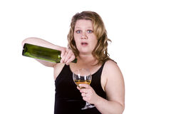 Beautiful Woman Standing Up with Wine Royalty Free Stock Photos
