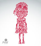 Beautiful woman standing, vector art illustration of a cute girl. Floral image of a female, for use in graphic design Royalty Free Stock Photography