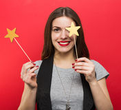 Beautiful woman with stars Stock Photography