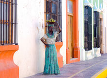 Beautiful Woman Statue in Campeche. CAMPECHE, MEXICO - FEBRUARY 23: Beautiful  woman statue in colonial street in Campeche, Mexico on February 23, 2017 Royalty Free Stock Photos
