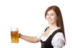 Beautiful woman stems Oktoberfest beer stein Stock Image