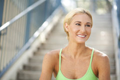 Beautiful woman on steps Royalty Free Stock Photography