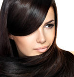 Beautiful woman with straight hair Stock Photography