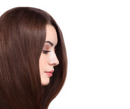 Beautiful Woman with Straight Long Brown Hair. Royalty Free Stock Photos