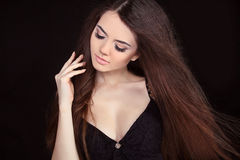 Beautiful Woman with Straight Long Hair Stock Images