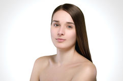 Beautiful woman. Straight long hair. Attractive natural portrait Royalty Free Stock Photo