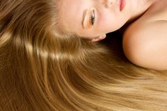 Beautiful Woman with Straight Long Hair Royalty Free Stock Photos