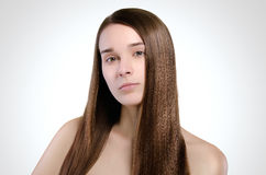 Beautiful woman. Straight long hair. Natural. Portrait. Concept. Attractive model Royalty Free Stock Images