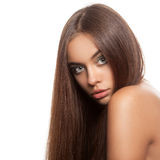 Beautiful woman with straightened hair. Stock Image
