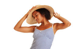 Beautiful woman in straw hat Royalty Free Stock Photo