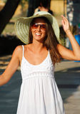 Beautiful woman and straw hat Royalty Free Stock Photography