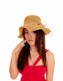 Beautiful woman with straw hat. Stock Photography