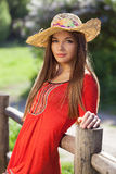 Beautiful woman in a straw hat Royalty Free Stock Photos