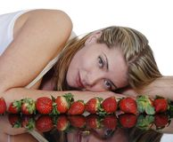 Beautiful woman with strawberries Stock Photo