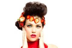 Beautiful Woman in Strawberries