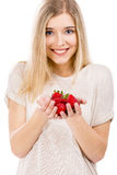 Beautiful woman with strawberries Stock Photos