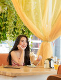 Beautiful woman in street cafe Royalty Free Stock Image