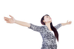 Beautiful woman stretch arms isolated over white Stock Images