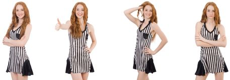 The beautiful woman in striped dress royalty free stock photo