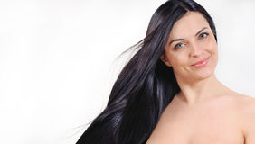 Beautiful woman with strong healthy bright windy hair, spa beaut Royalty Free Stock Photos