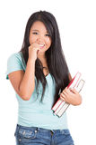 Beautiful woman student holding books Royalty Free Stock Images